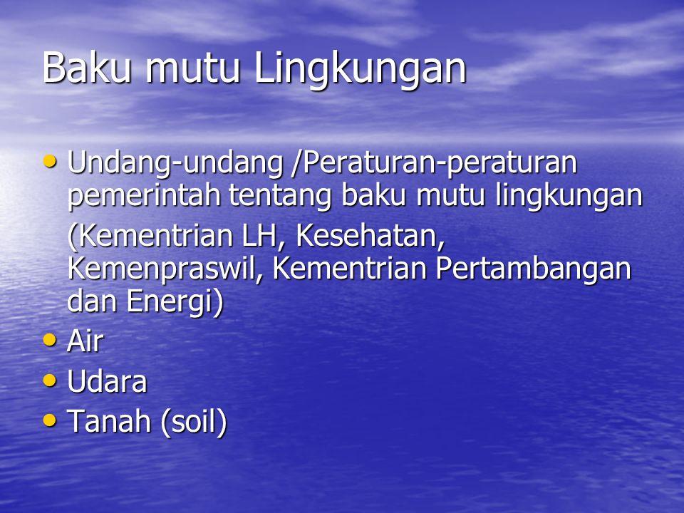 Baku mutu Lingkungan Undang-undang /Peraturan-peraturan pemerintah tentang baku mutu lingkungan.