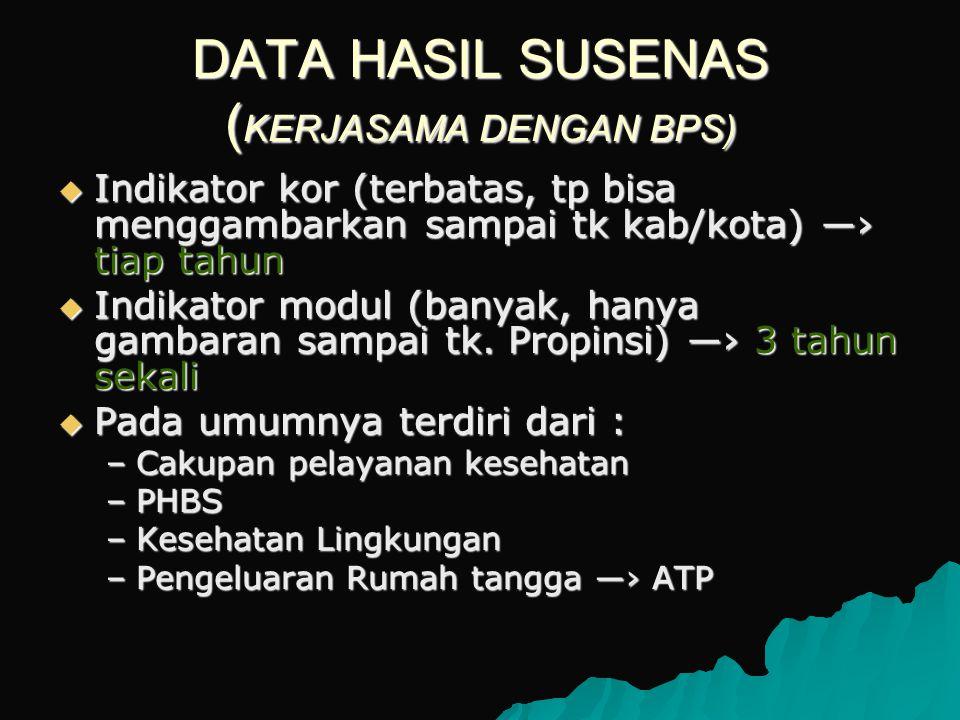 DATA HASIL SUSENAS (KERJASAMA DENGAN BPS)