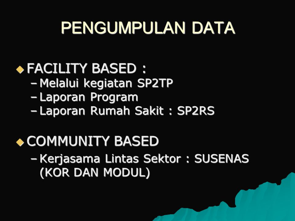 PENGUMPULAN DATA FACILITY BASED : COMMUNITY BASED