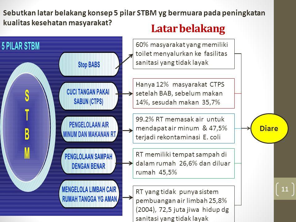 Sebutkan latar belakang konsep 5 pilar STBM yg bermuara pada peningkatan kualitas kesehatan masyarakat
