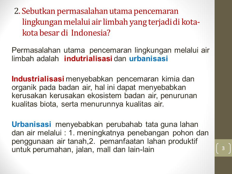 2. Sebutkan permasalahan utama pencemaran lingkungan melalui air limbah yang terjadi di kota- kota besar di Indonesia