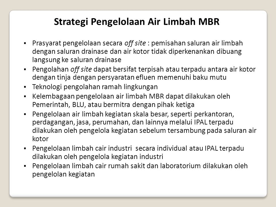 Strategi Pengelolaan Air Limbah MBR