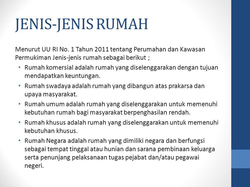 JENIS-JENIS RUMAH Menurut UU RI No. 1 Tahun 2011 tentang Perumahan dan Kawasan Permukiman Jenis-jenis rumah sebagai berikut ;
