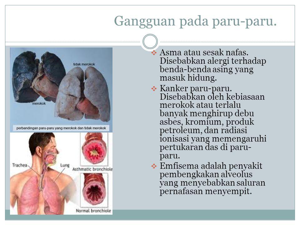 Gangguan pada paru-paru.