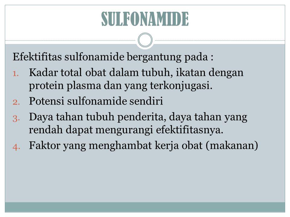SULFONAMIDE Efektifitas sulfonamide bergantung pada :