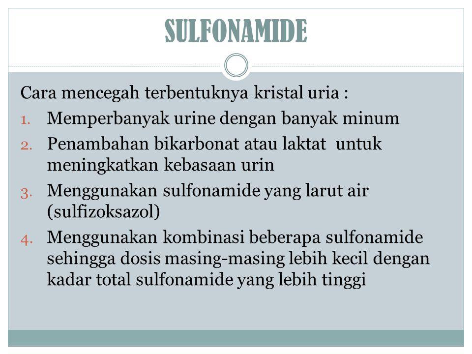SULFONAMIDE Cara mencegah terbentuknya kristal uria :