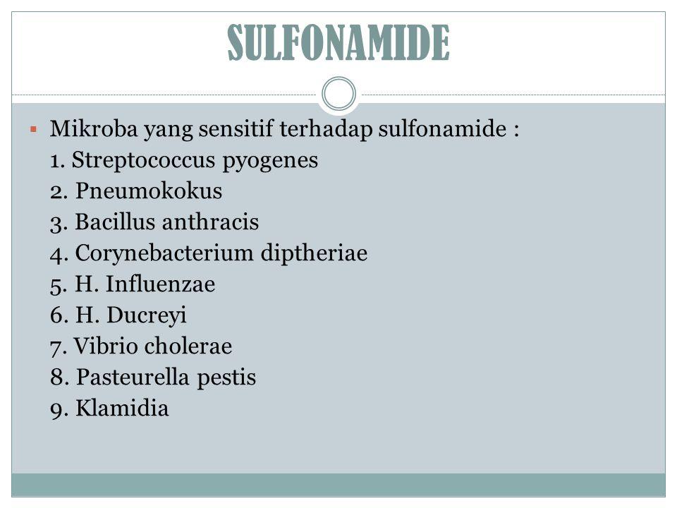 SULFONAMIDE Mikroba yang sensitif terhadap sulfonamide :