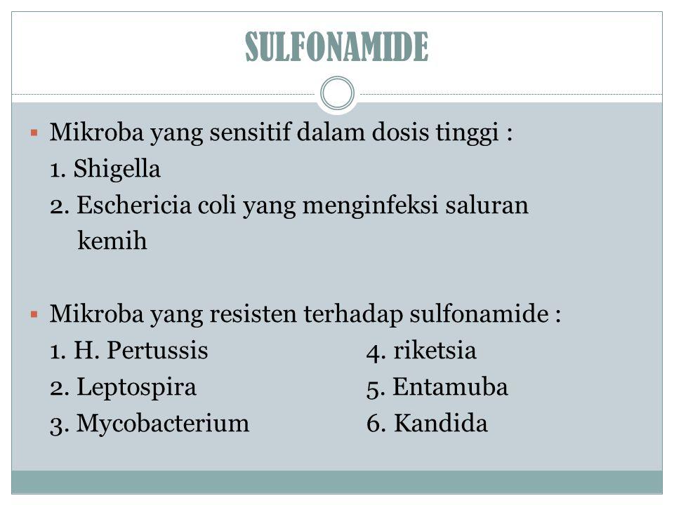 SULFONAMIDE Mikroba yang sensitif dalam dosis tinggi : 1. Shigella