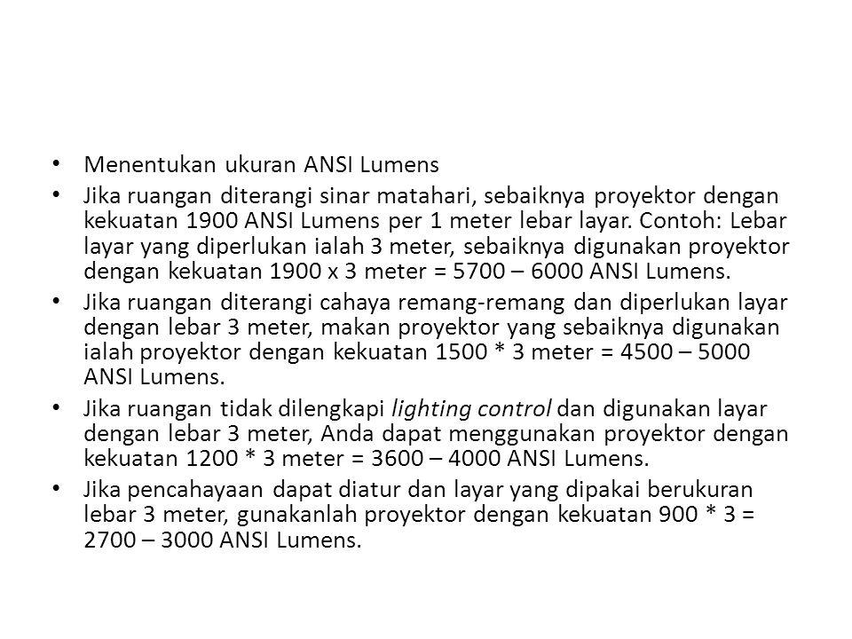 Menentukan ukuran ANSI Lumens