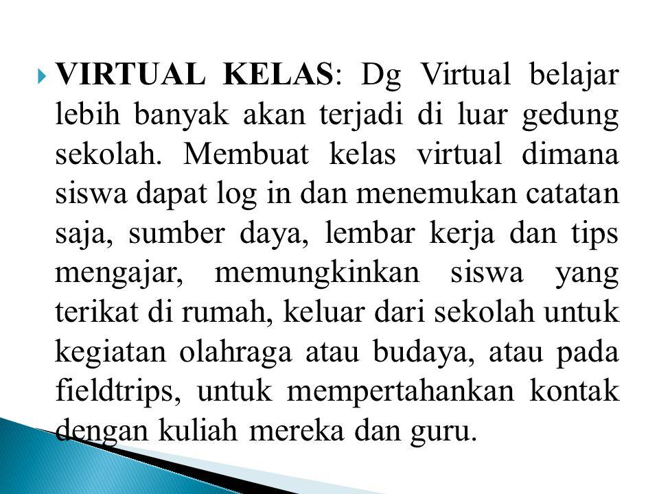 VIRTUAL KELAS: Dg Virtual belajar lebih banyak akan terjadi di luar gedung sekolah.