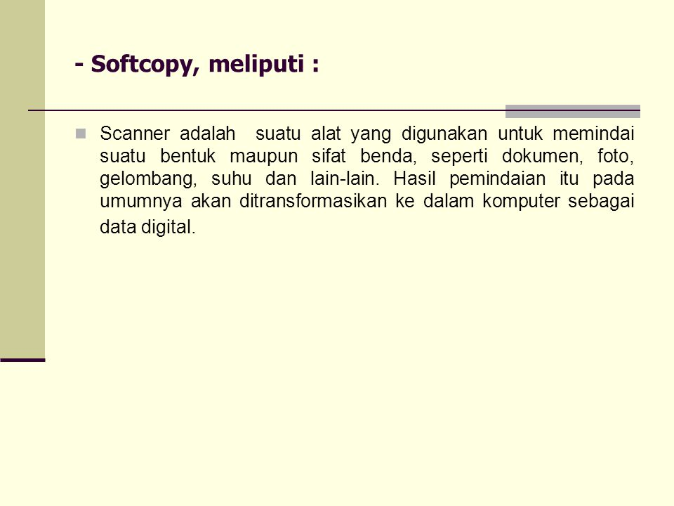 - Softcopy, meliputi :