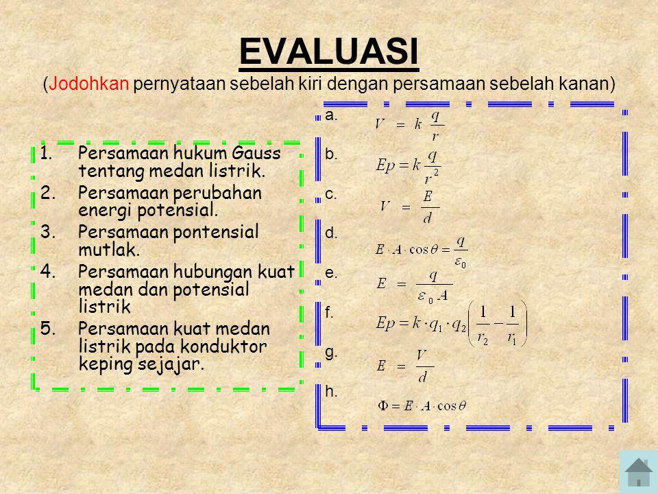 EVALUASI (Jodohkan pernyataan sebelah kiri dengan persamaan sebelah kanan)