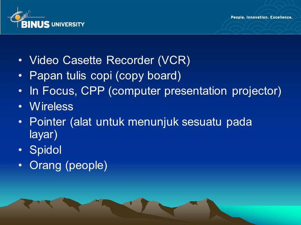Video Casette Recorder (VCR)