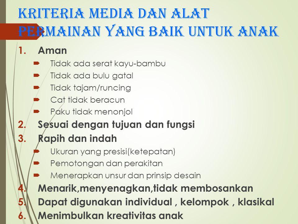 Kriteria media dan alat permainan yang baik untuk anak