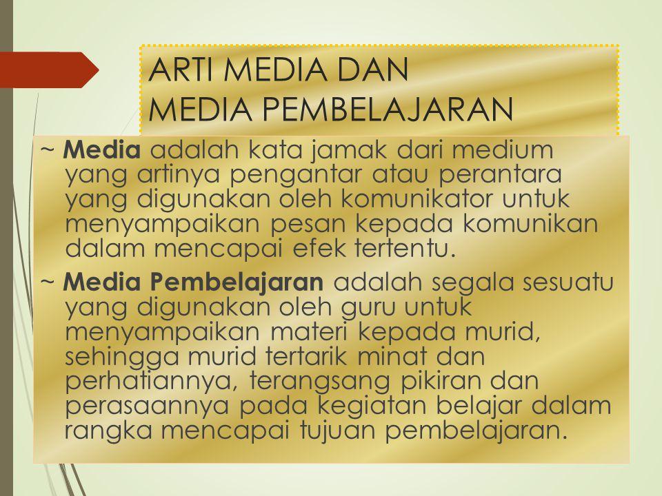 ARTI MEDIA DAN MEDIA PEMBELAJARAN