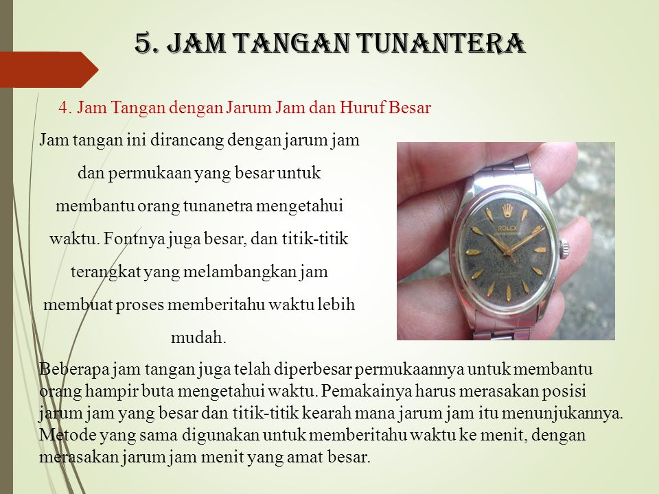4. Jam Tangan dengan Jarum Jam dan Huruf Besar