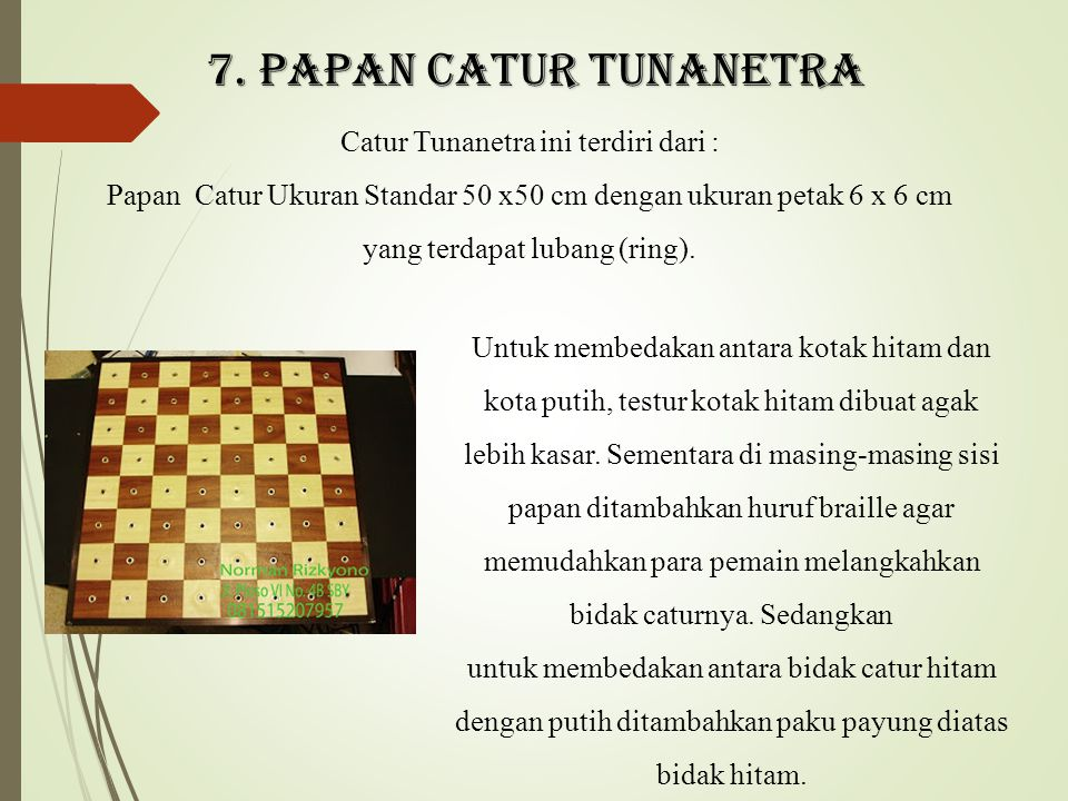Catur Tunanetra ini terdiri dari :