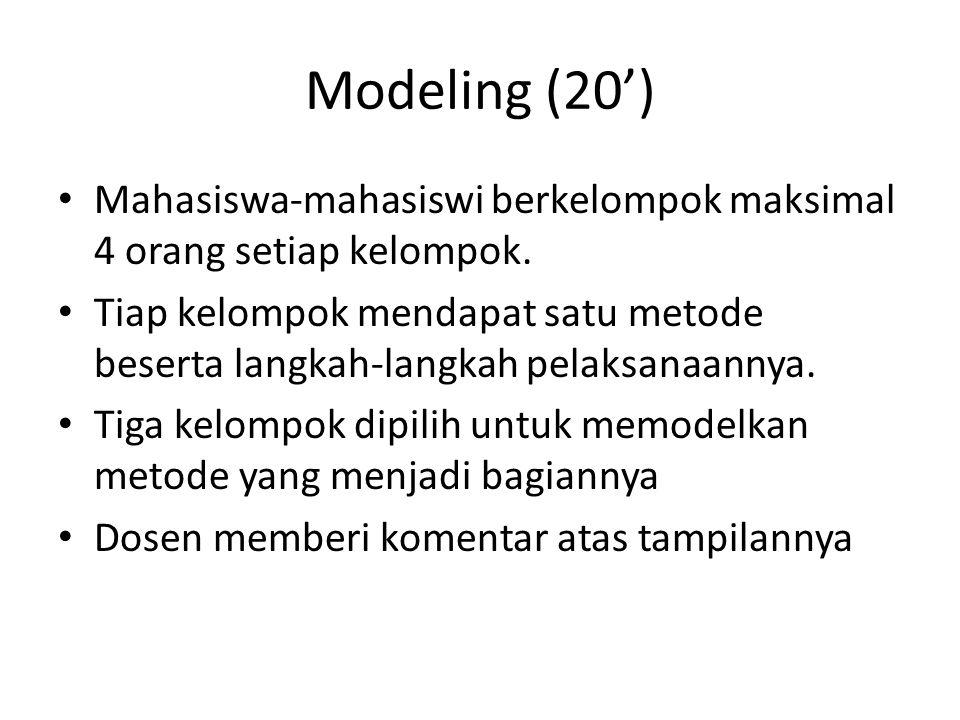 Modeling (20') Mahasiswa-mahasiswi berkelompok maksimal 4 orang setiap kelompok.