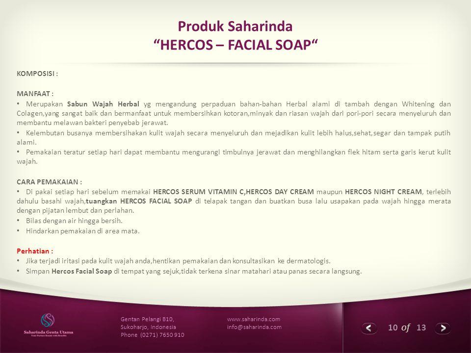 Produk Saharinda HERCOS – FACIAL SOAP