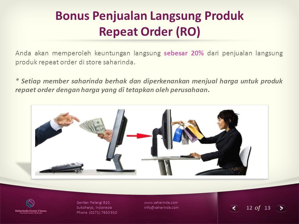 Bonus Penjualan Langsung Produk Repeat Order (RO)