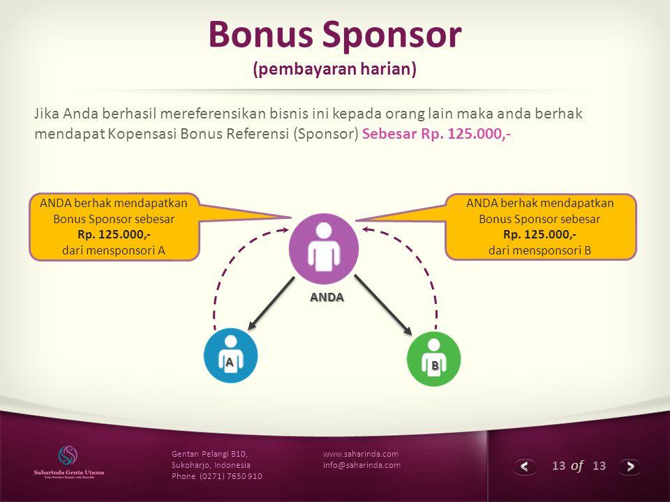 Bonus Sponsor (pembayaran harian)