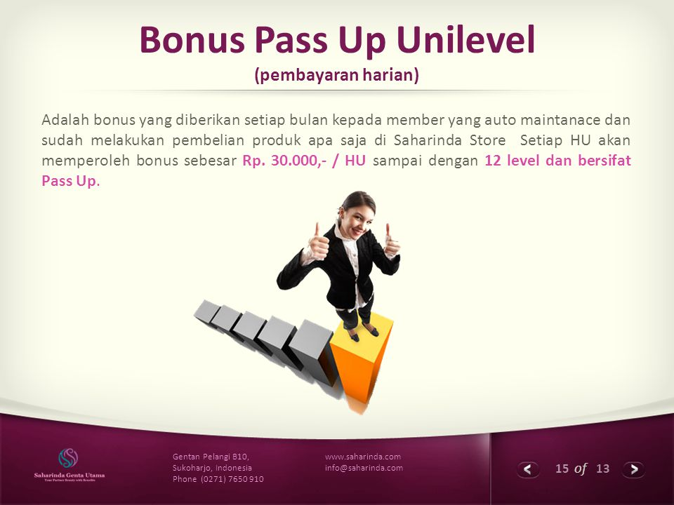 Bonus Pass Up Unilevel (pembayaran harian)