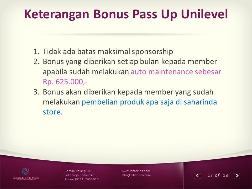 Keterangan Bonus Pass Up Unilevel