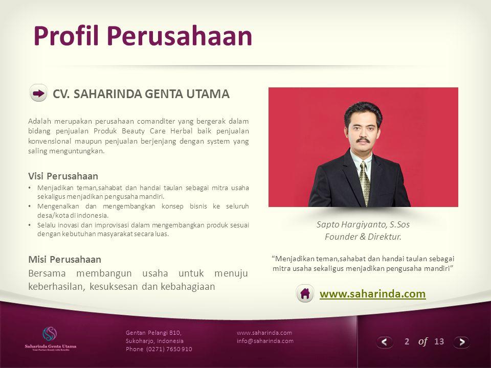 Profil Perusahaan CV. SAHARINDA GENTA UTAMA www.saharinda.com