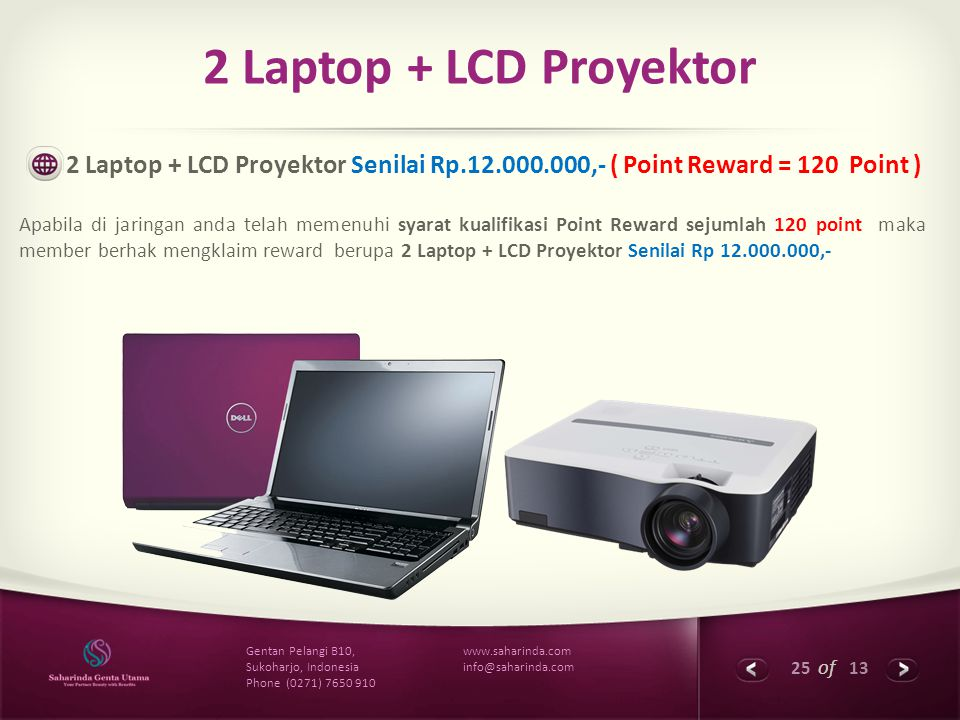2 Laptop + LCD Proyektor 2 Laptop + LCD Proyektor Senilai Rp.12.000.000,- ( Point Reward = 120 Point )
