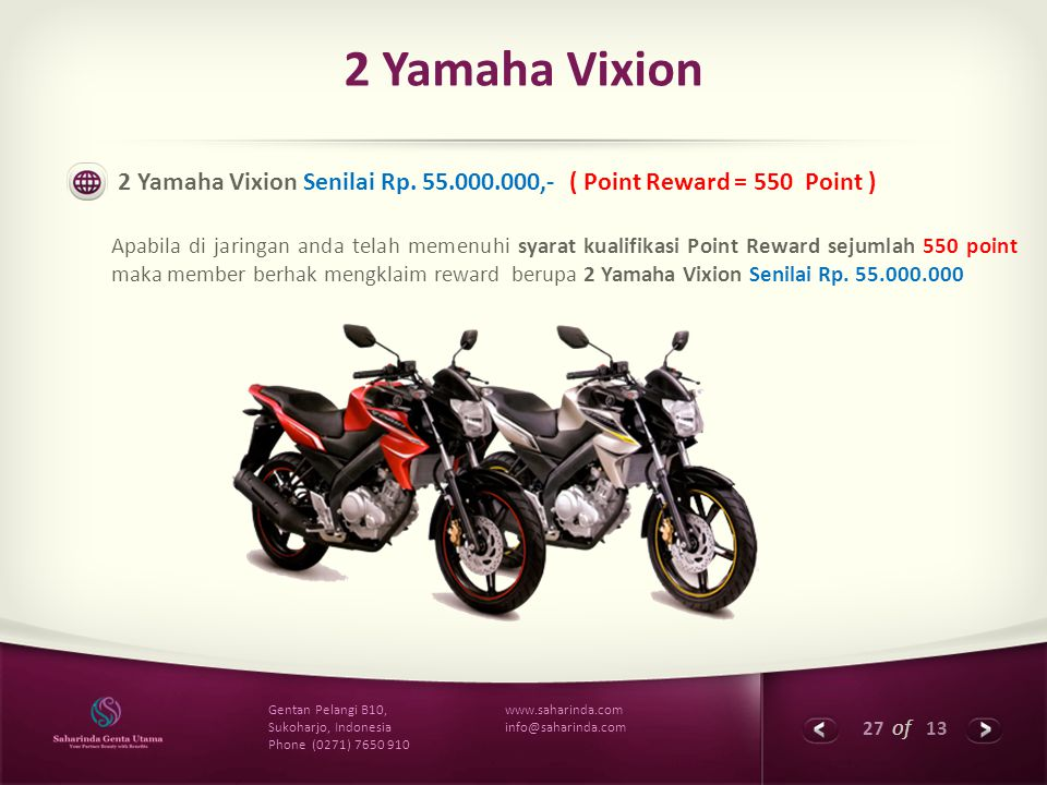 2 Yamaha Vixion 2 Yamaha Vixion Senilai Rp. 55.000.000,- ( Point Reward = 550 Point )