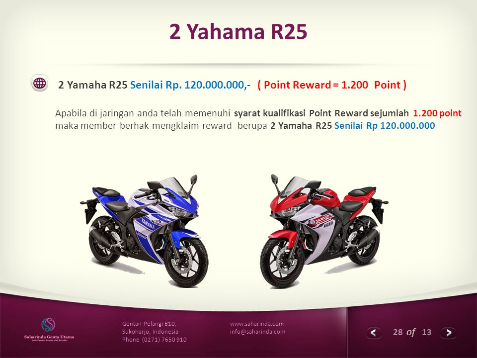 2 Yahama R25 2 Yamaha R25 Senilai Rp. 120.000.000,- ( Point Reward = 1.200 Point )
