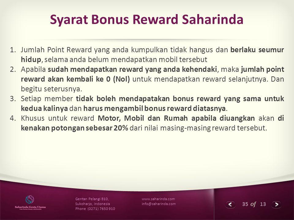 Syarat Bonus Reward Saharinda