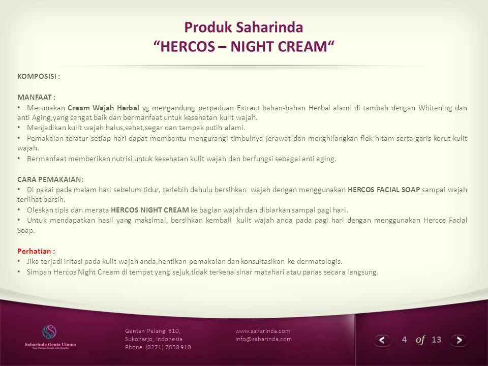 Produk Saharinda HERCOS – NIGHT CREAM