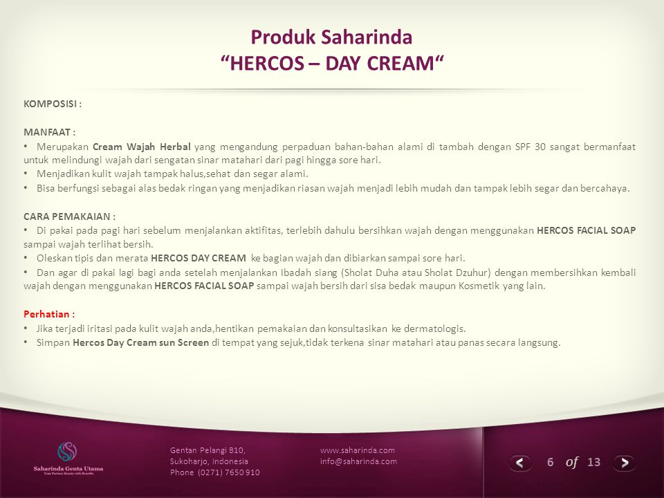 Produk Saharinda HERCOS – DAY CREAM