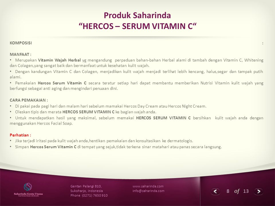 Produk Saharinda HERCOS – SERUM VITAMIN C