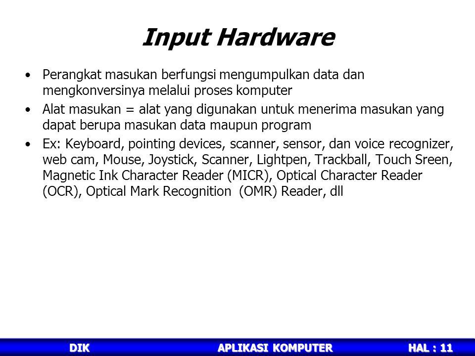 Input Hardware Perangkat masukan berfungsi mengumpulkan data dan mengkonversinya melalui proses komputer.