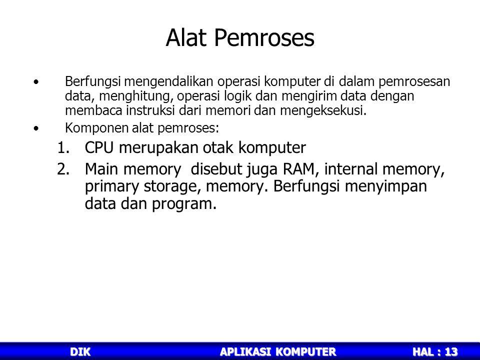 Alat Pemroses CPU merupakan otak komputer