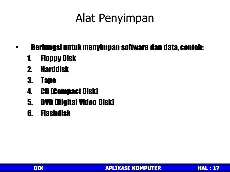Alat Penyimpan Berfungsi untuk menyimpan software dan data, contoh: