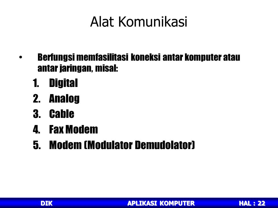 Alat Komunikasi Digital Analog Cable Fax Modem