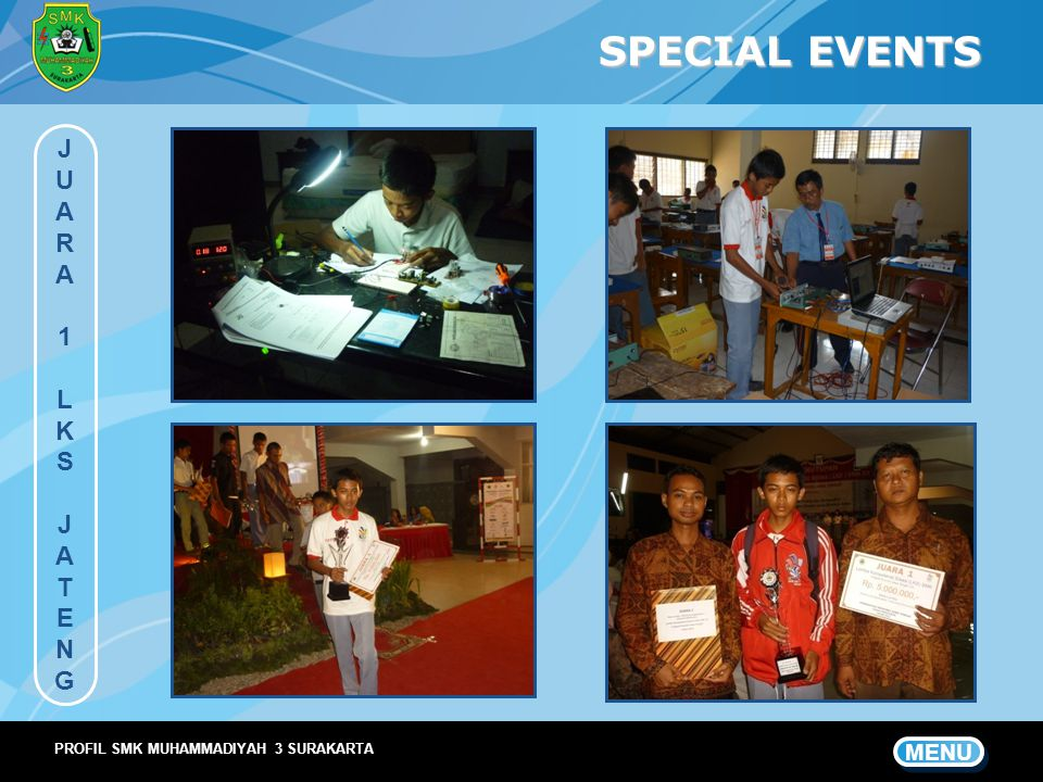 SPECIAL EVENTS J U A R 1 L K S T E N G MENU