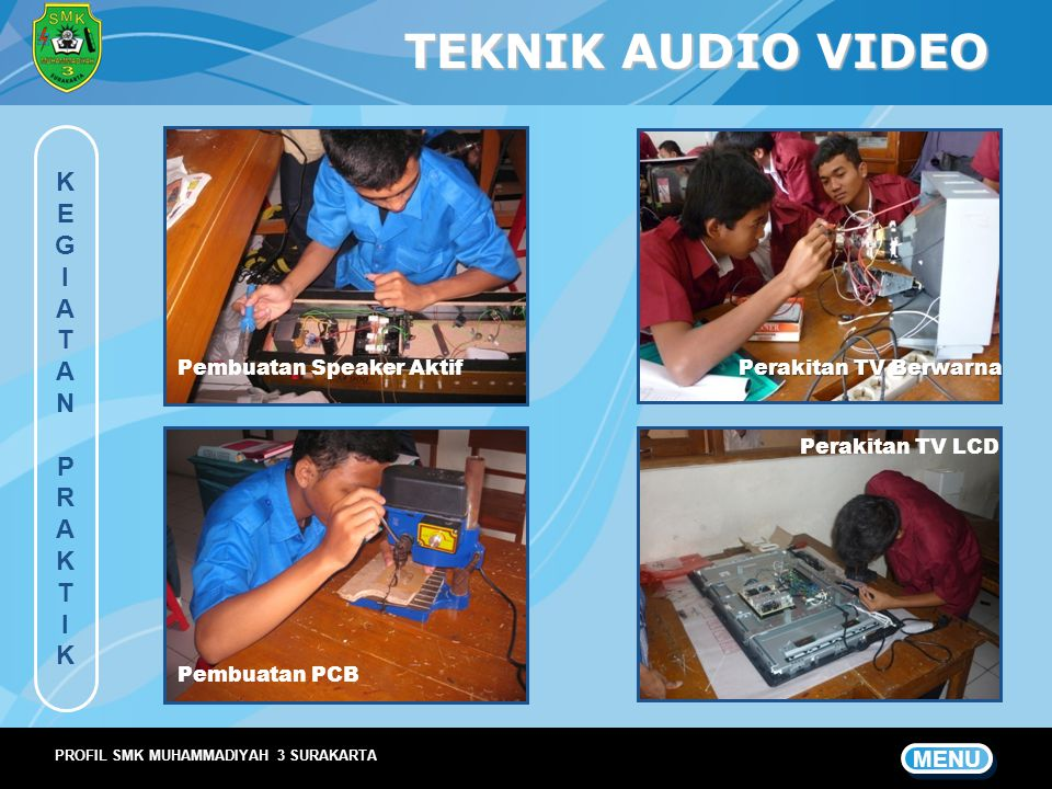 TEKNIK AUDIO VIDEO K E G I A T N P R MENU Pembuatan Speaker Aktif