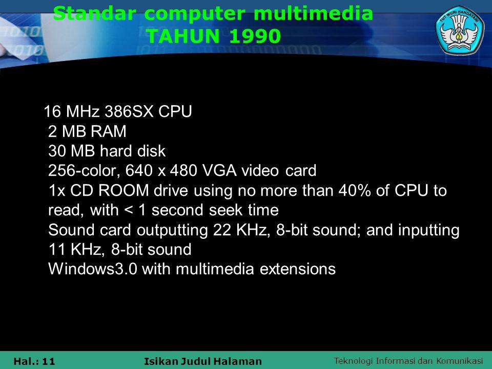 Standar computer multimedia TAHUN 1990