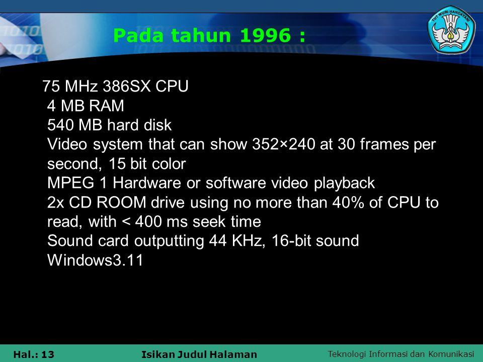 Pada tahun 1996 :