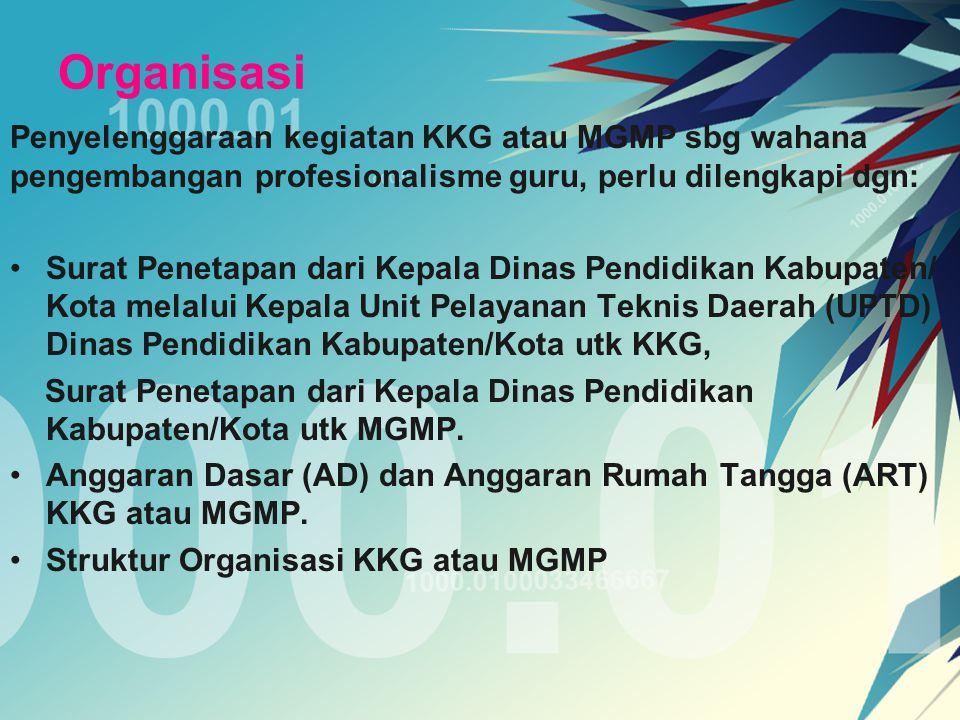 Organisasi Penyelenggaraan kegiatan KKG atau MGMP sbg wahana pengembangan profesionalisme guru, perlu dilengkapi dgn: