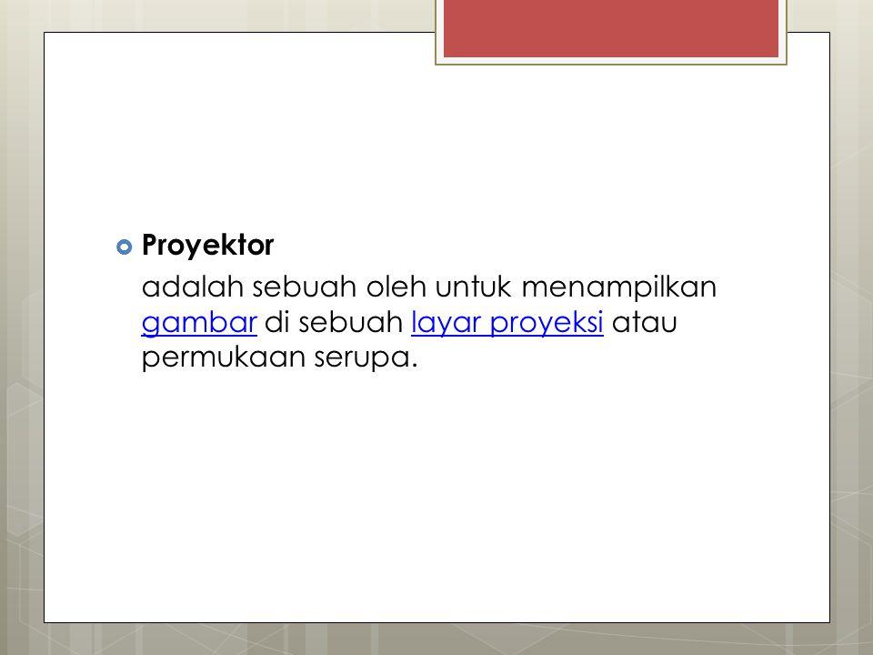 Proyektor adalah sebuah oleh untuk menampilkan gambar di sebuah layar proyeksi atau permukaan serupa.