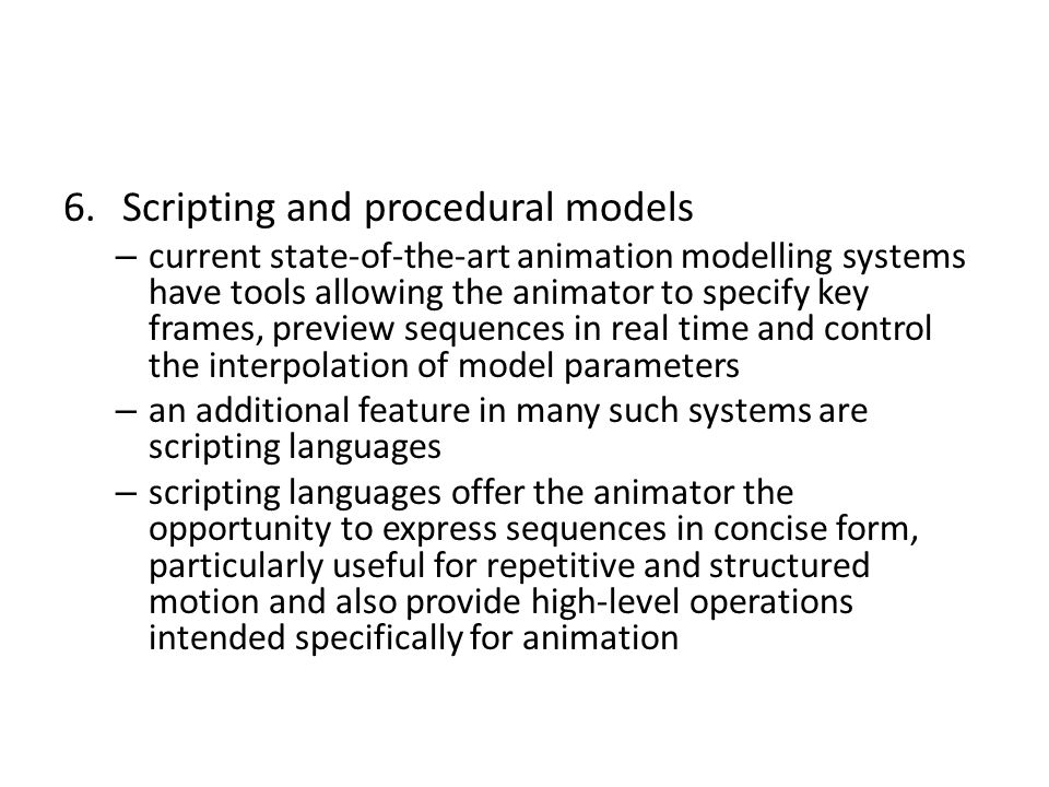 Scripting and procedural models