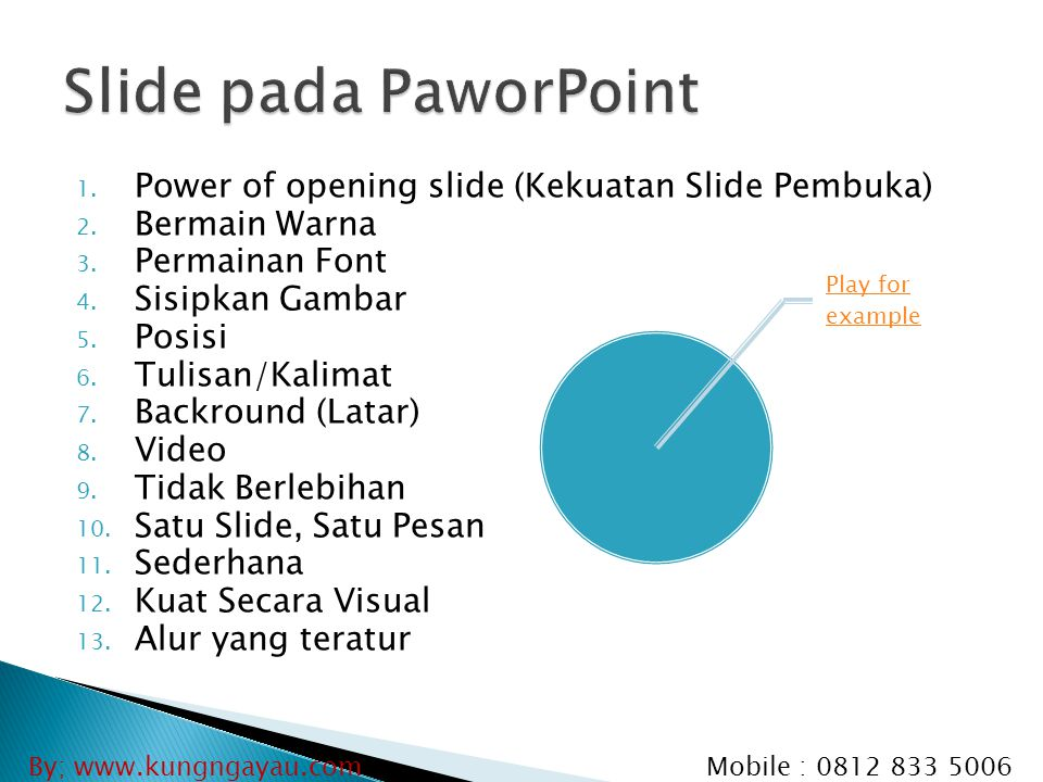 Slide pada PaworPoint Power of opening slide (Kekuatan Slide Pembuka)
