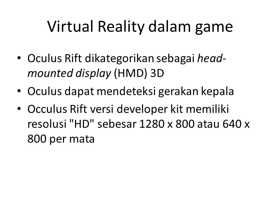 Virtual Reality dalam game