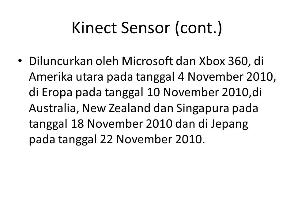 Kinect Sensor (cont.)