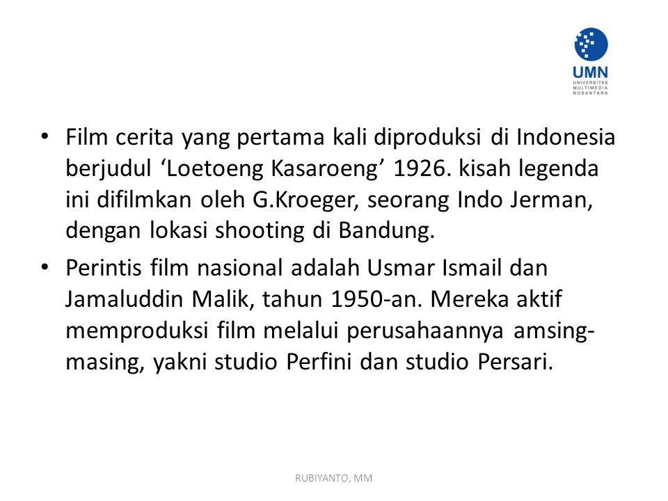 Film cerita yang pertama kali diproduksi di Indonesia berjudul 'Loetoeng Kasaroeng' 1926. kisah legenda ini difilmkan oleh G.Kroeger, seorang Indo Jerman, dengan lokasi shooting di Bandung.